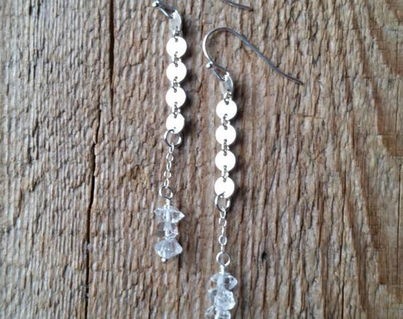 Sterling silver disc link earrings with three herkimer diamonds