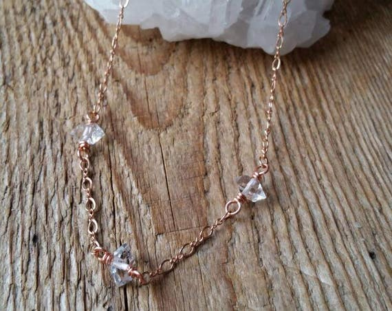 Rose gold and herkimer diamond trio choker