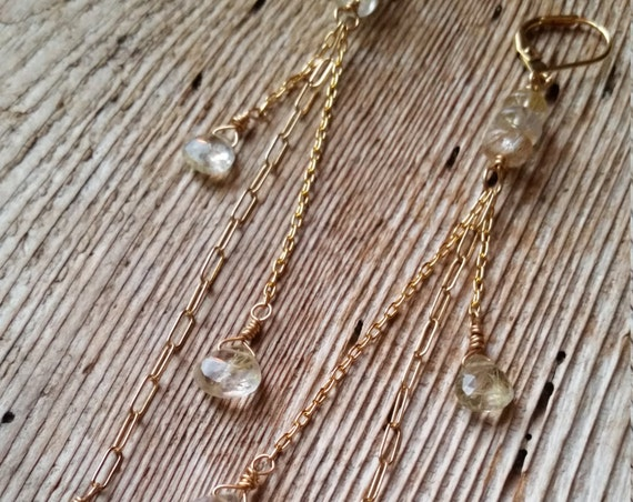 Long golden rutilated quartz earrings