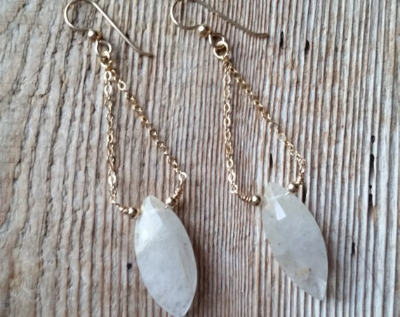 Golden rutilated quartz dangles on gold filled chain