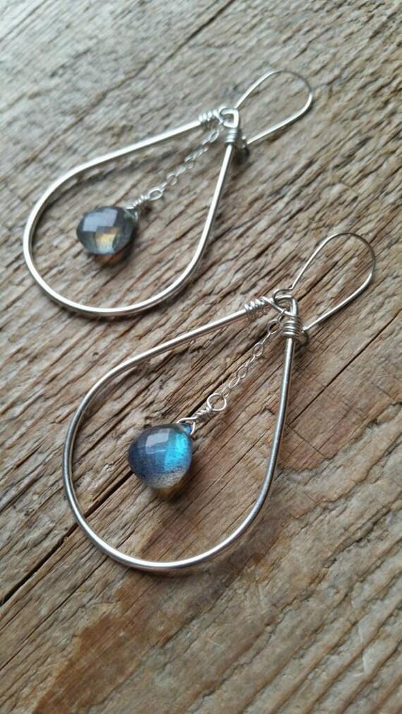 Sterling silver filled teardrop  earrings with labradorite