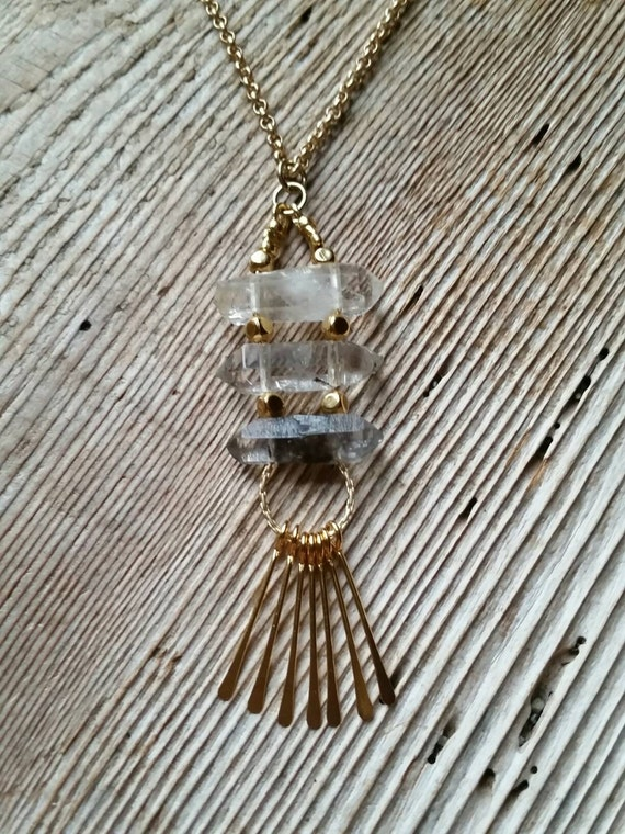 Double terminated quartz crystal ladder necklace with gold