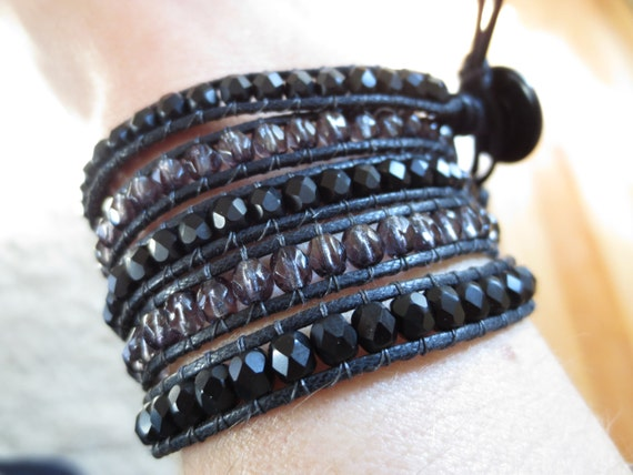 Waxed cotton cord wrap bracelet with matte jet black beads and crystal smoky gray beads - 5 wrap