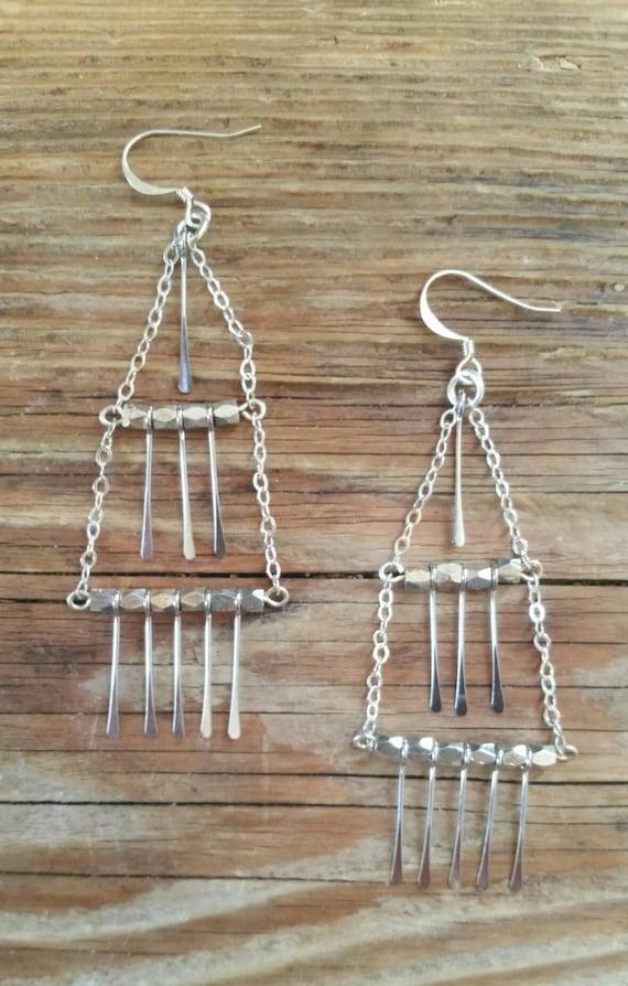 Silver fringe chandelier earrings