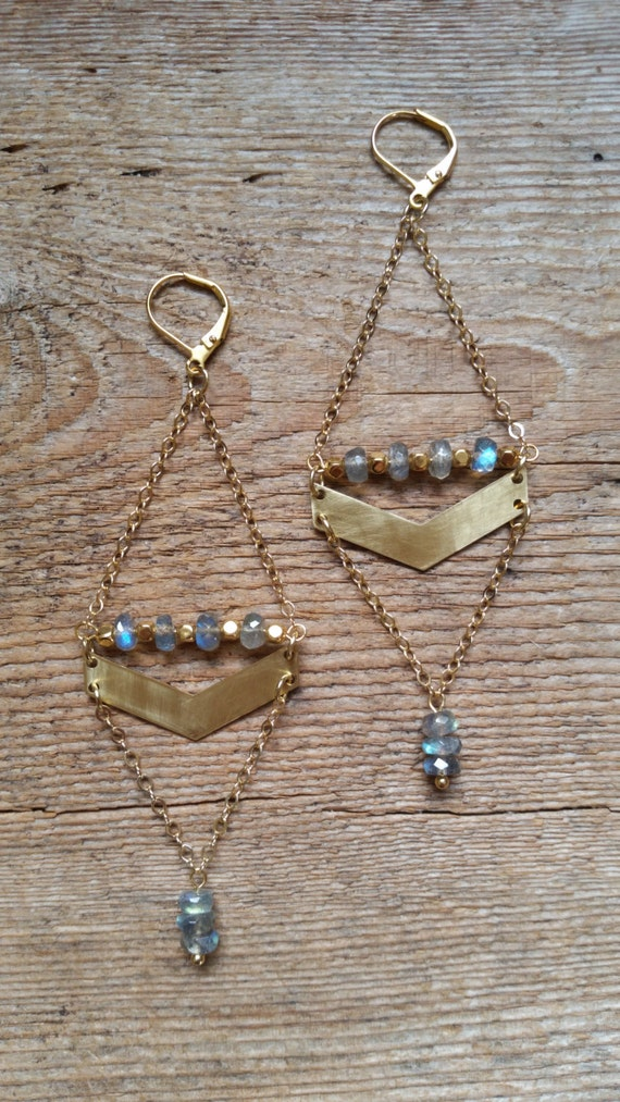 Labradorite with brass chevron