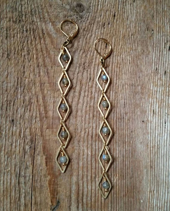 Labradorite with raw brass diamond link earrings - EBL005