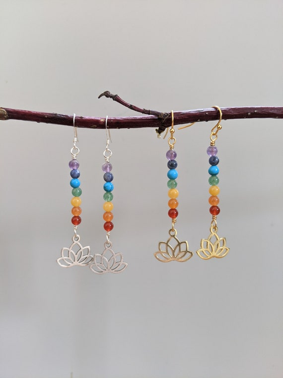 Lotus chakra earrings in gold or silver - yoga jewelry namaste