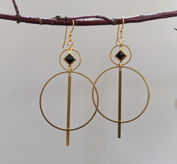 Geometric earrings - brass framed black lucite diamond, brass shapes with brass bar