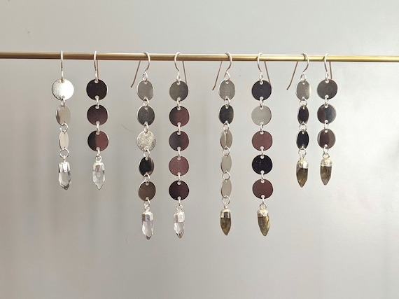 Silver disc coin chain earrings with faceted crystal points - clear quartz or labradorite