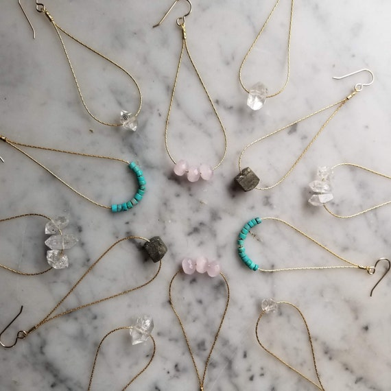 Gemstones on matte brass chain teardrops - herkimer diamond, rose quartz, turquoise, pyrite, double terminated quartz
