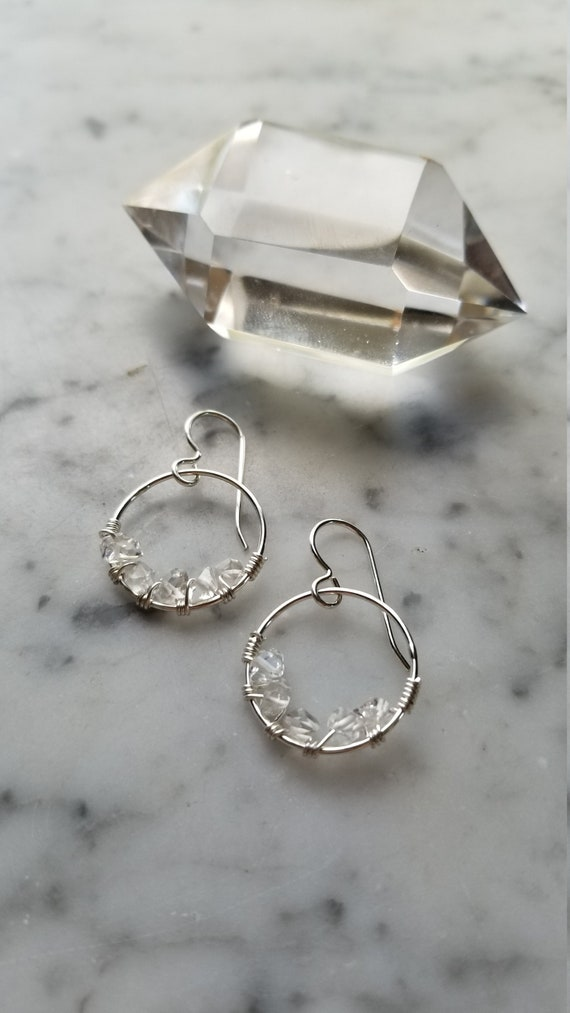 "0.75"" wide Herkimer diamond lined sterling silver hoops Pleiades seven sisters half moon large"