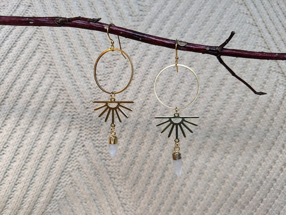 Brass circles with shiny gold sunbursts and faceted moonstone points