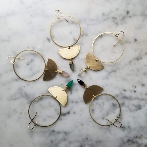 Brass half moon phase earrings with faceted gemstone points - labradorite rose quartz black onyx green onyx clear quartz