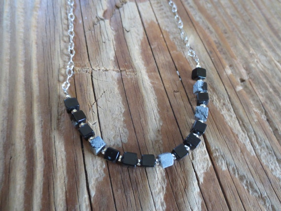 Snowflake obsidian cube bead necklace on antique silver textured chain