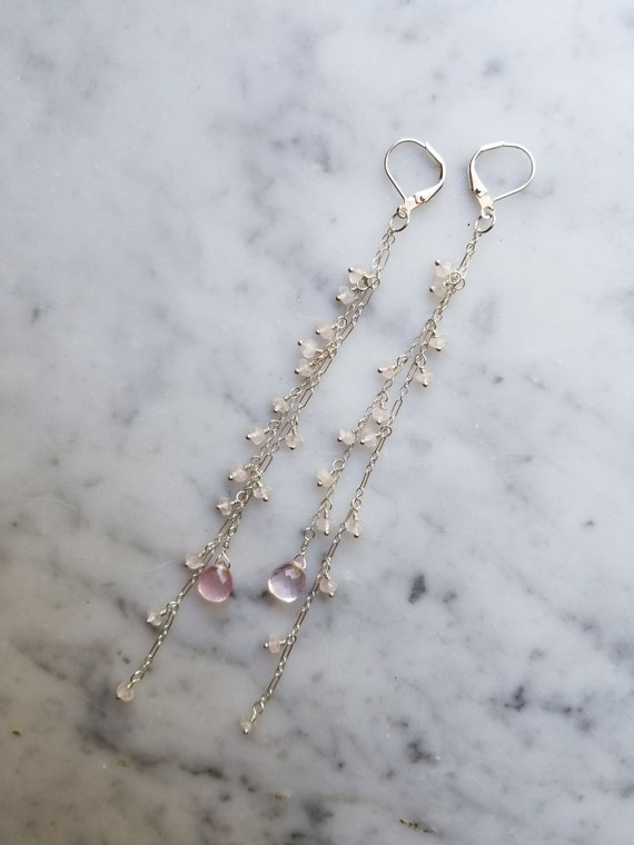 Rose quartz chain fringe earrings sterling silver dangles