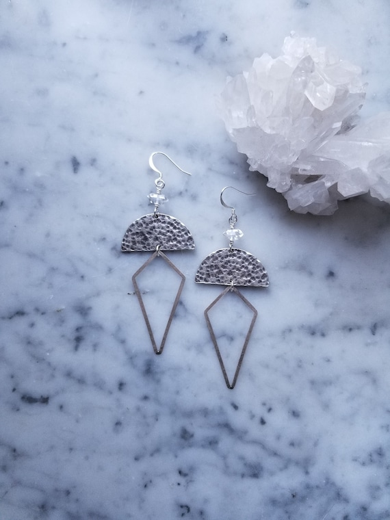 Hammered silver half moons with herkimer diamond accents and brushed silver kite dangles