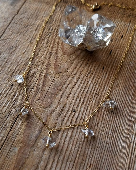 Delicate gold filled necklace with larger Herkimer diamonds