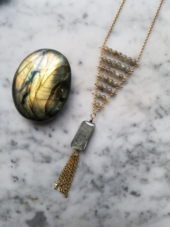 Pinned labradorite necklace with flashy focal bead and chain fringe NGL001