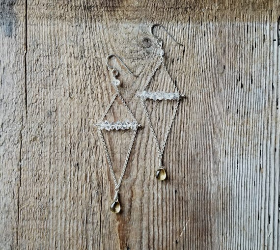 Herkimer diamond sterling silver earrings with citrine