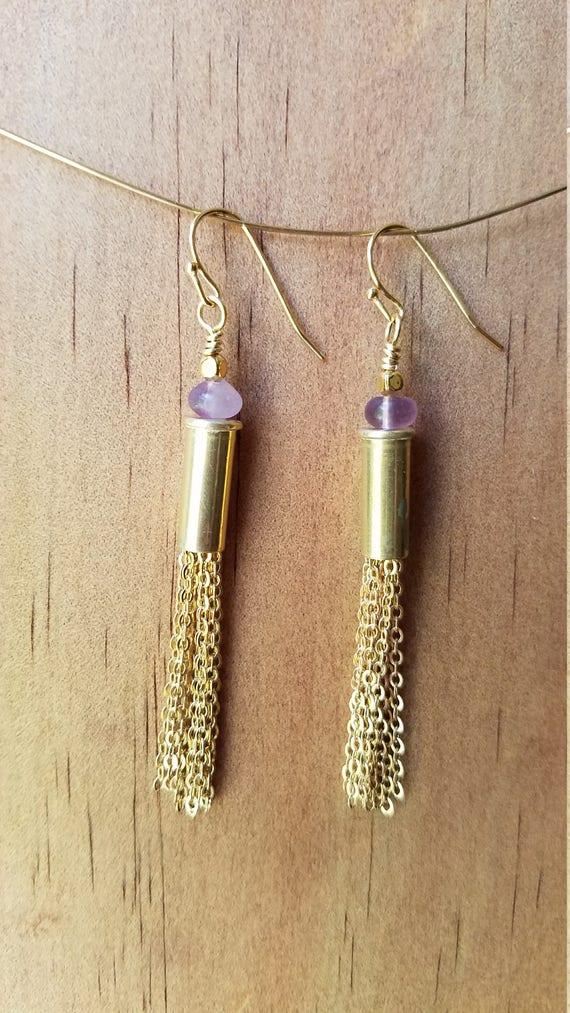 Fluorite bullet earrings with brass chain fringe