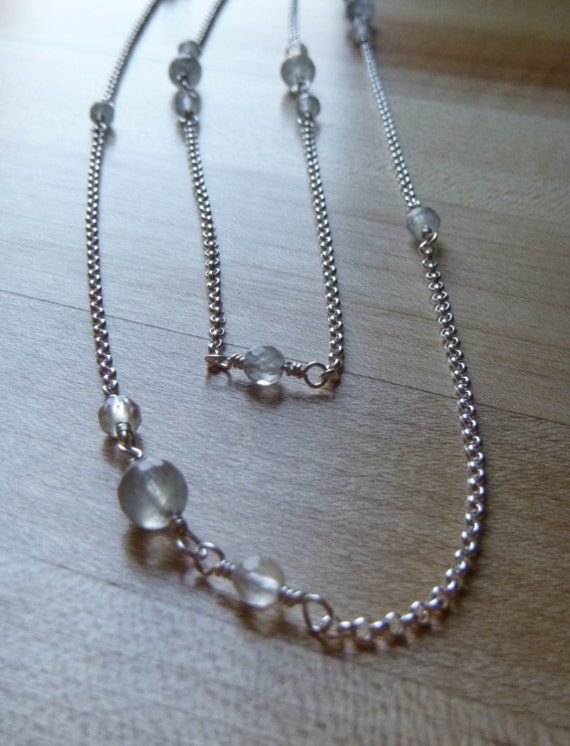 long cloudy quartz beaded layering necklace with silver rolo chain