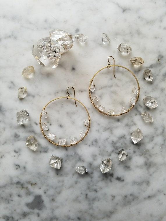 Herkimer diamond lined brass hoops Pleiades seven sisters half moon