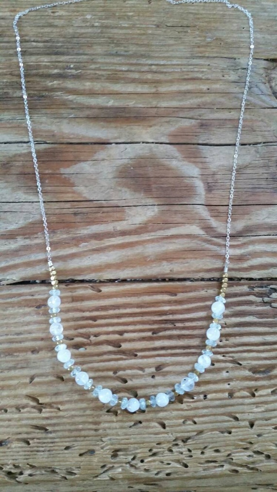 Moonstone and aquamarine with gold on sterling silver necklace