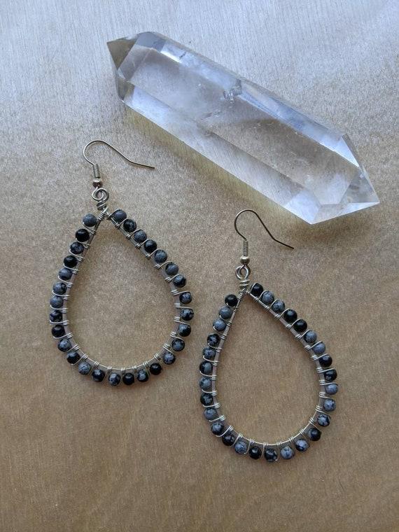 Snowflake obsidian sterling silver wire wrapped teardrop shaped earrings