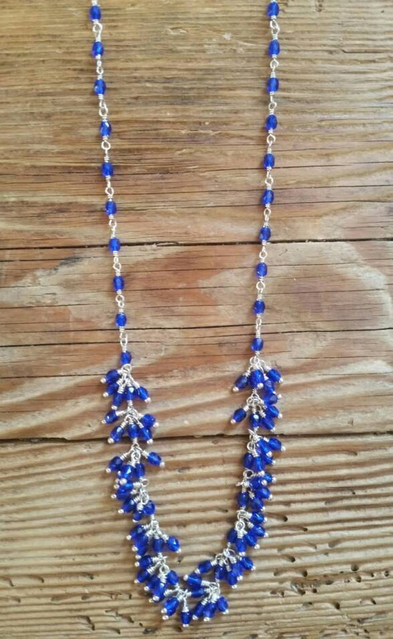 Cobalt blue Czech fire polished beads on silver necklace
