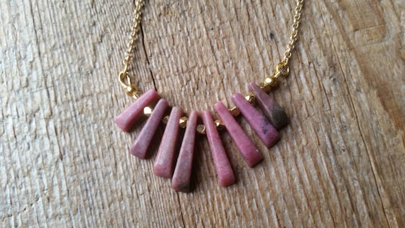 Pink rhodonite fan necklace on matte gold plated rolo chain