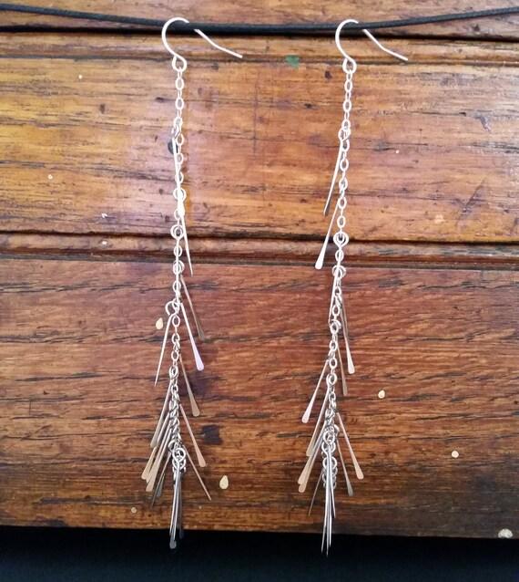 Long silver fringe earrings
