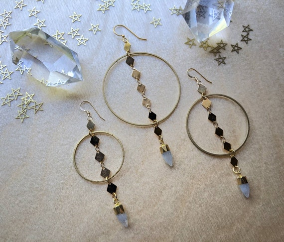 Moonstone points on brass diamond chain in brass hoops - 3 sizes available