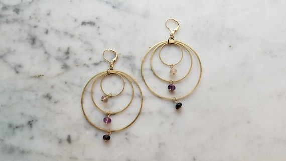 Fluorite on brass connected circles rings hoops - ombre gradient