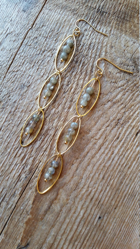 Labradorite with raw brass oval link earrings