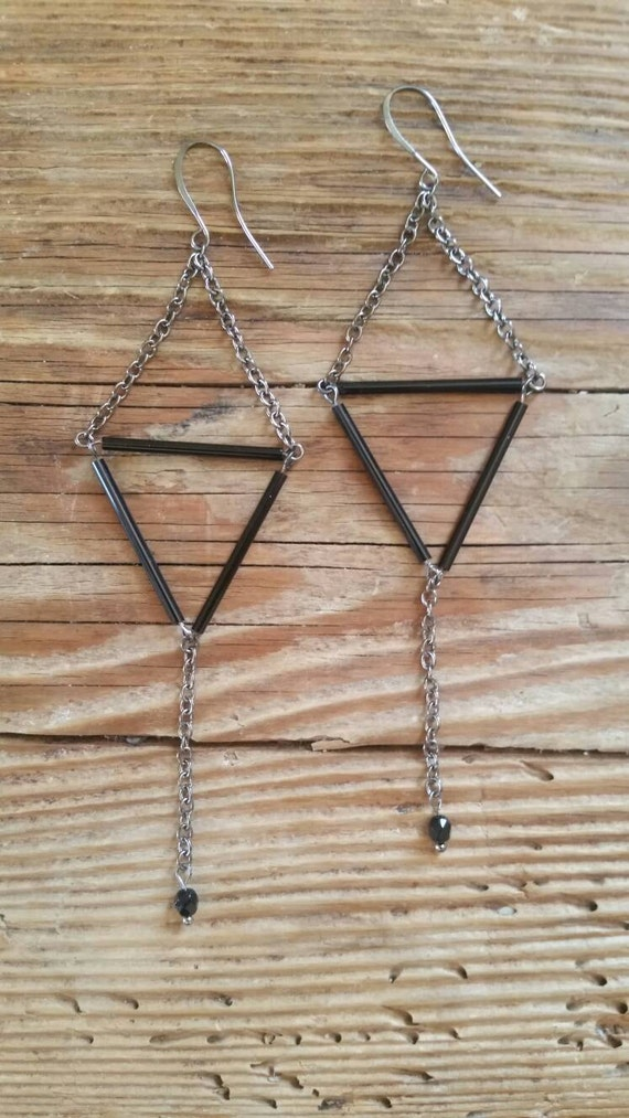 Triangle chain dangle gunmetal and black earrings - extra long