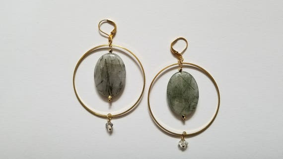 Rutilated quartz and herkimer diamond brass hoop earrings