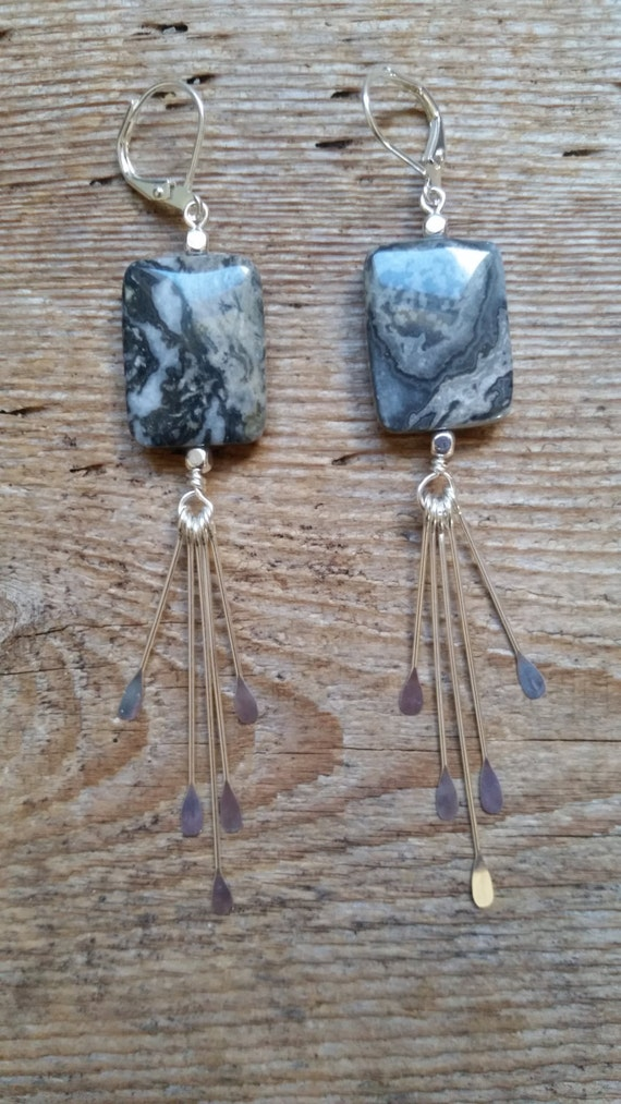 Crazy lace agate earrings with silver fringe