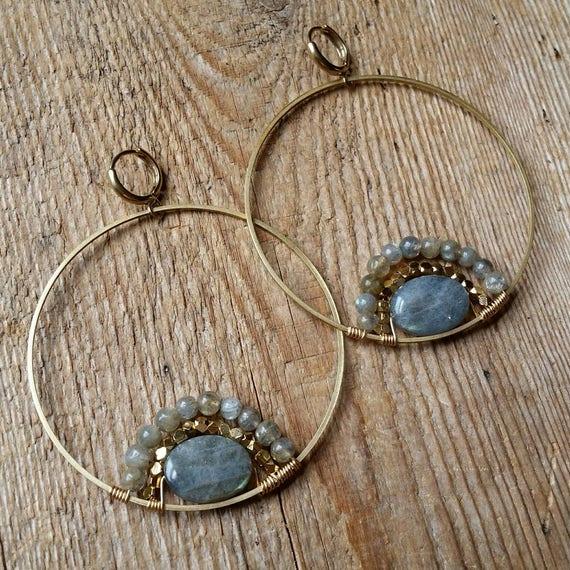 Labradorite brass hoops