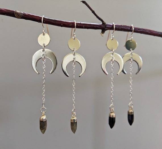 Silver crescent moons with labradorite or onyx faceted points