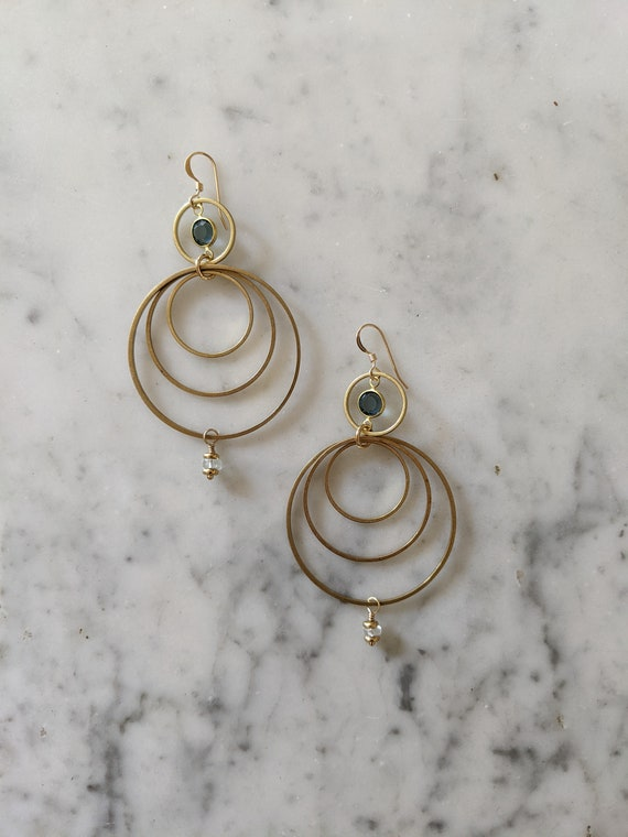 Blue Swarovski with concentric circles - aquamarine and brass geometric dangle earrings