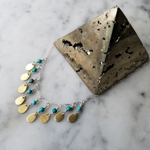 Turquoise and brass teardrop necklace on sterling silver chain
