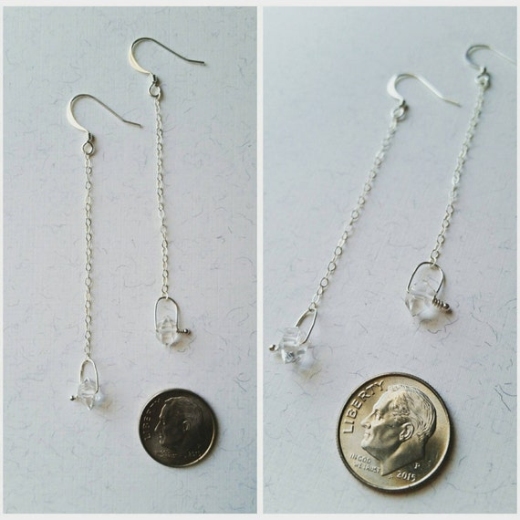 Herkimer diamond sterling silver swing dangle earrings