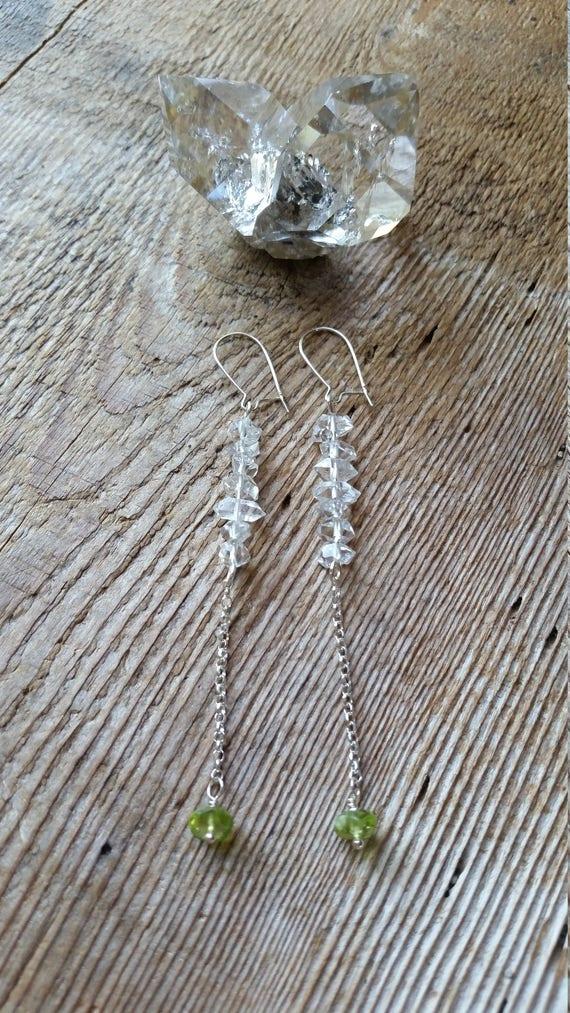 Herkimer diamond dangle earrings with peridot on sterling silver