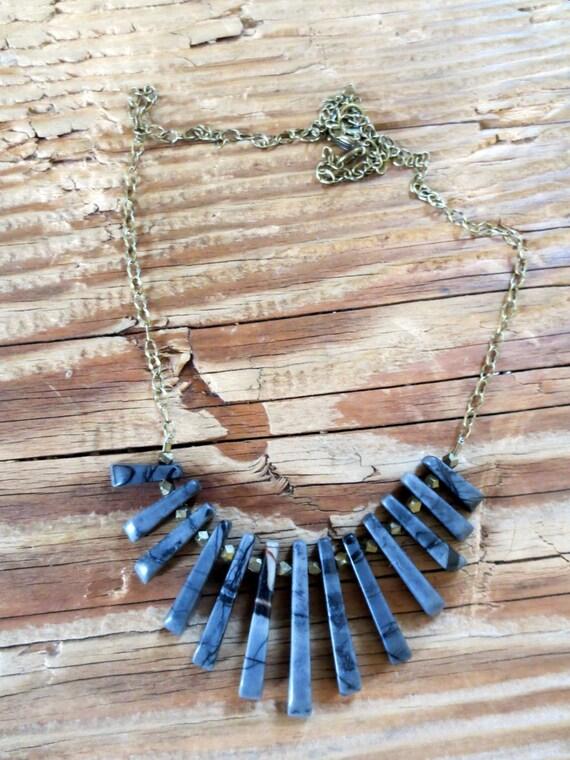 Picasso jasper fan necklace on antique brass chain