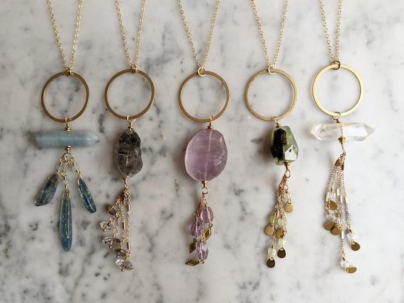 Long gemstone statement necklace with prehnite amethyst tibetan quartz clear quartz aquamarine kyanite