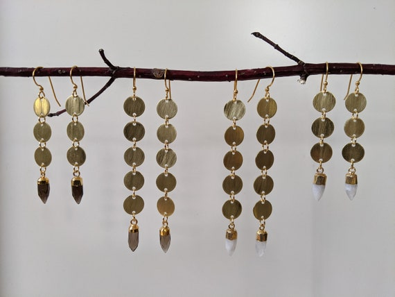Brass disc coin chain earrings with faceted crystal points - smoky quartz or moonstone