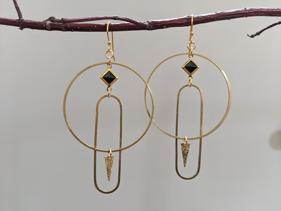 Geometric earrings - brass framed black lucite diamond, brass shapes with sparkly brass point