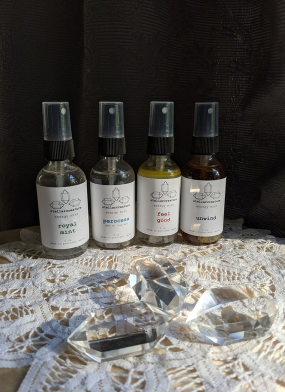 Aromatherapy sprays - crystal infused energy mist - room clearing spray - cleansing mist
