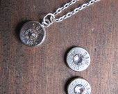 357 Bullet Jewelry Set with Earrings and Necklace with Swarovski Crystal Accents - Small Thin Cut - April Birthstone