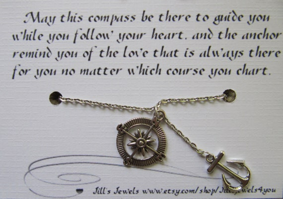 Best Friend Compass And Anchor Charm Necklace And Friendship Etsy